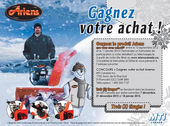 Concours «Gagnez votre souffleuse Ariens»