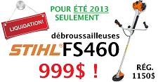 JUILLET 2013: LIQUIDATION DE DÉBROUSSAILLEUSES STIHL FS460